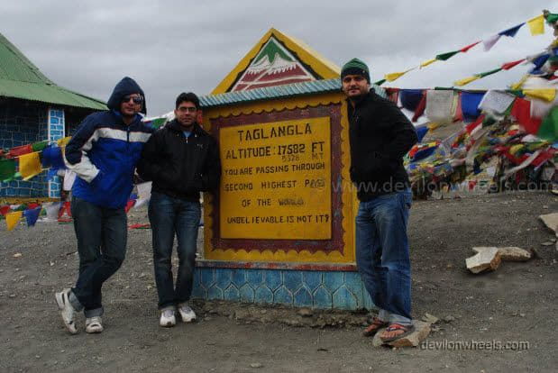 Dheeraj Sharma with a friend and cousin at Tangang La on Manali - Leh Highway