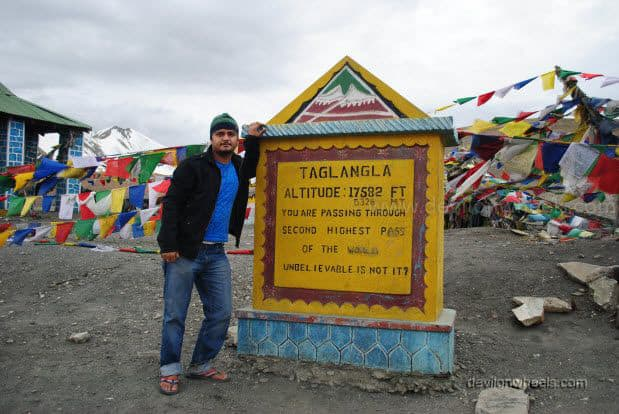 Dheeraj Sharma at Tangang La on Manali - Leh Highway
