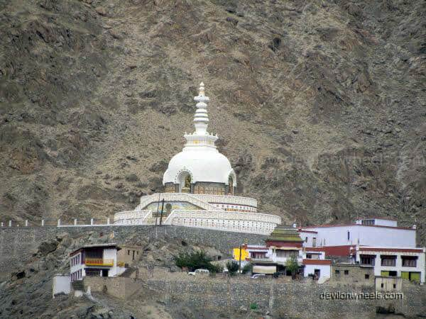 View of Shanti Stupa in Leh - Ladakh