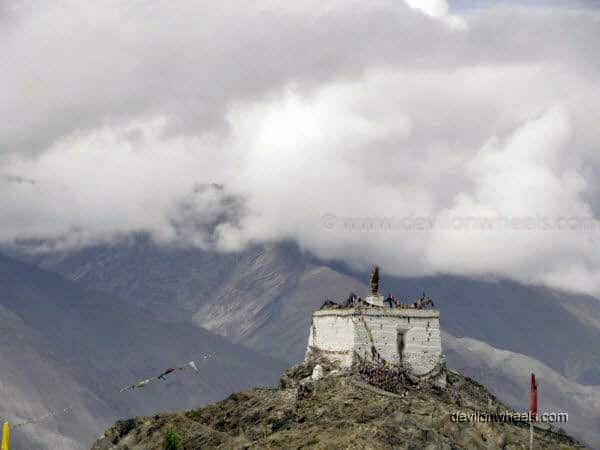 View of Monastery at top of hill from DC Office in Leh - Ladakh