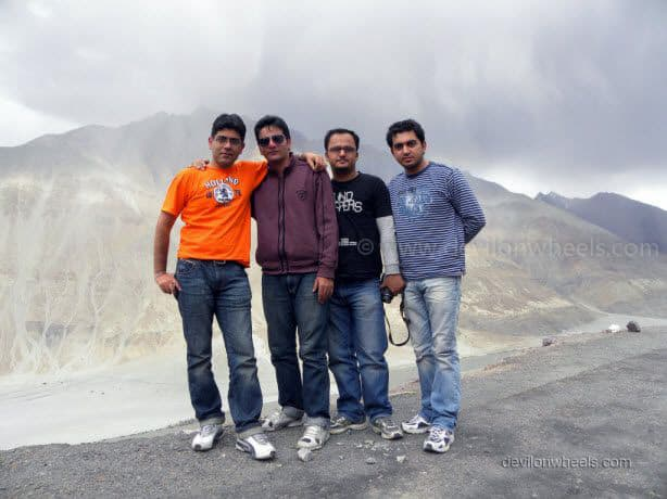 Dheeraj Sharma with friends on the road to Nubra Valley from Khardung La in Leh - Ladakh