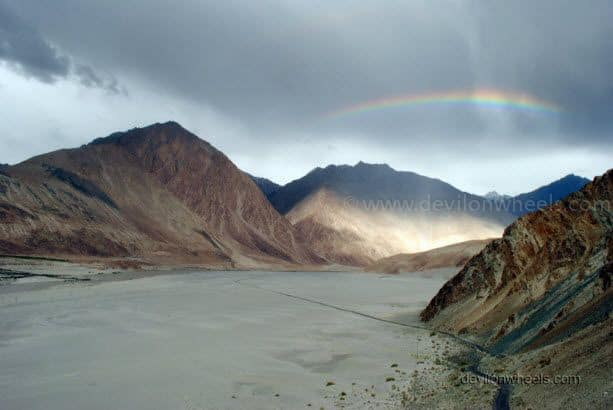 Rainbow on the road to Nubra Valley from Khardung La in Leh - Ladakh