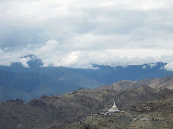 Distant view of Shanti Stupa in Leh - Ladakh