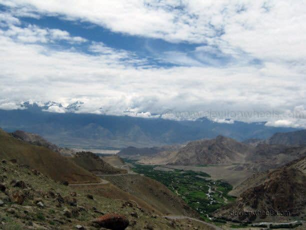 View of Leh city from the road to Khardung La in Leh - Ladakh