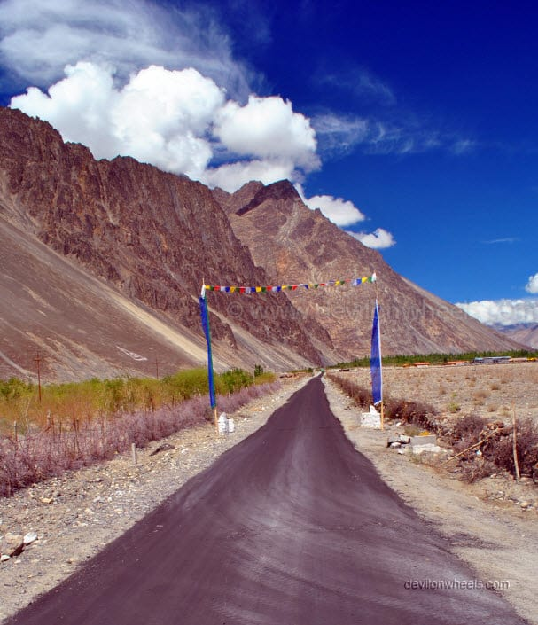 Road towards Hunder coming from Diskit in Nubra Valley of Leh - Ladakh
