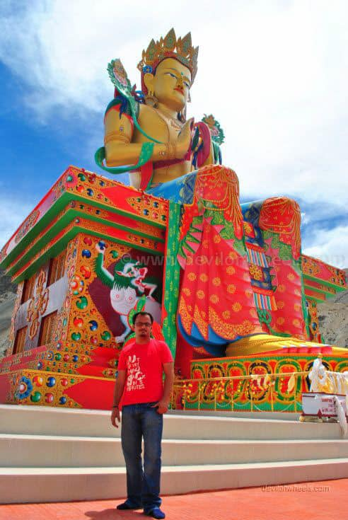 Dheeraj Sharma with Lord Buddha Statue in Diskit monastery, Nubra Valley of Leh - Ladakh