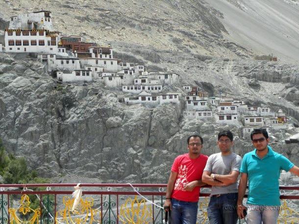 Dheeraj Sharma with friends at Diskit monastery, Nubra Valley of Leh - Ladakh