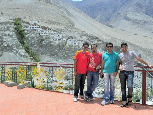 Dheeraj Sharma with friends at Diskit monastery, Nubra Valley of Leh - Ladakh