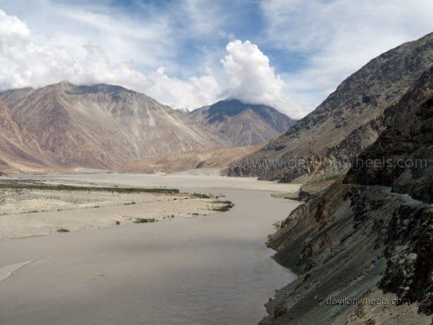Shyok river flowing in Nubra Valley of Leh - Ladakh
