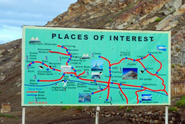 Guide map for places of interest in Leh - Ladakh
