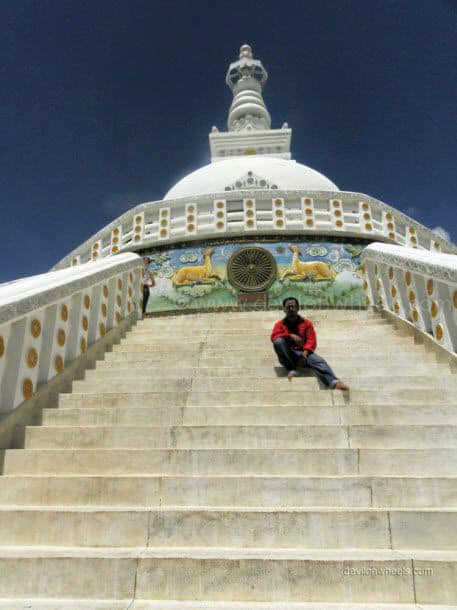 Dheeraj Sharma at Shanti Stupa in Leh - Ladakh