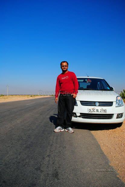 Dheeraj Sharma at a road from Bikaner to Jaiselmer