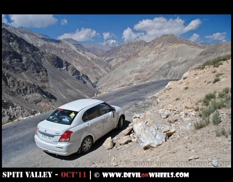 That is my ride, sitting high and handsome on road to Spiti Valley via Kinnaur - Shimla