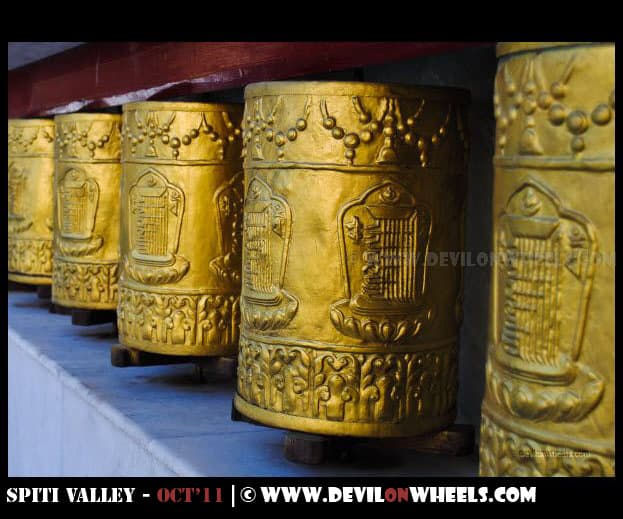 Prayer Wheels at Tabo Monastery at Tabo Village