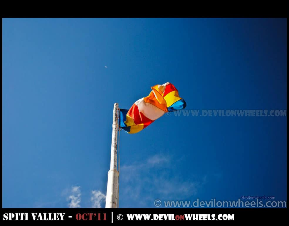 A Flag at Tabo Monastery at Tabo Village