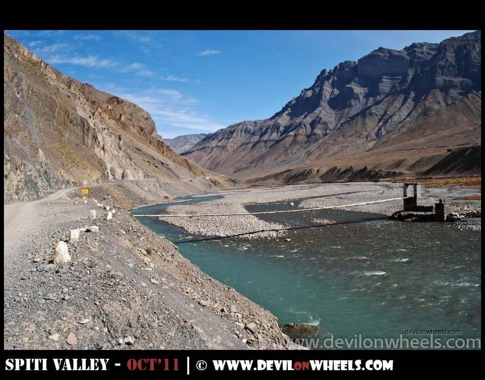 Tailing Village bridge in Spiti Valley