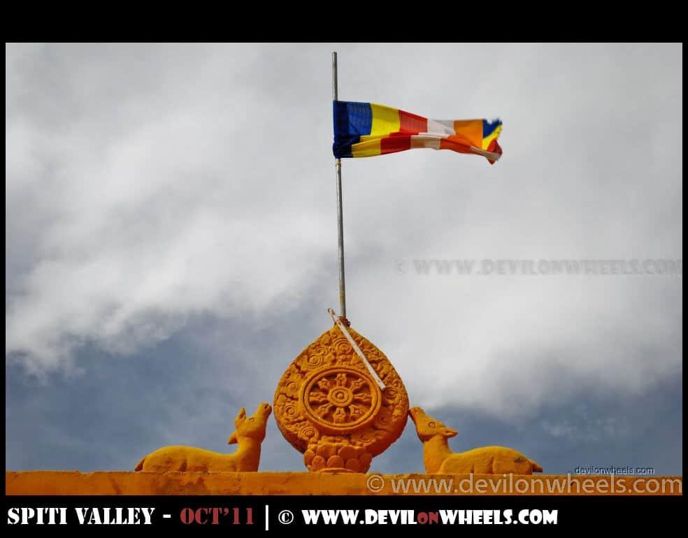 A Flag and a symbol of peace at Ki Monastery or Ki Gompa