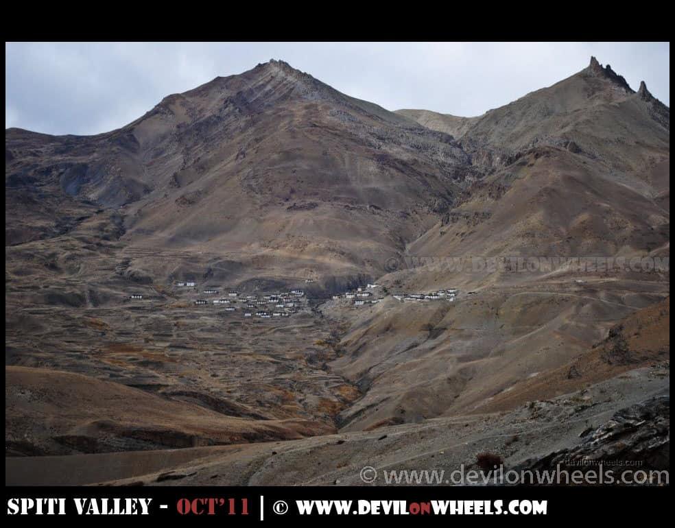 A view of Chichcham Village from Kibber Village