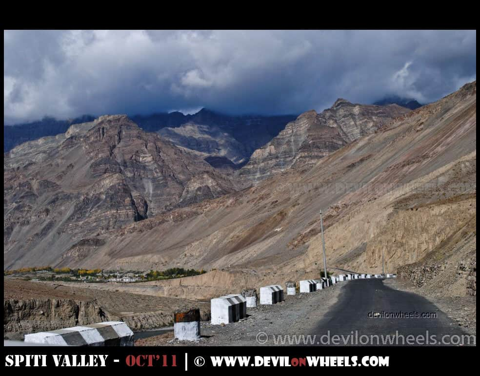 Distant view of Tabo in Spiti Valley