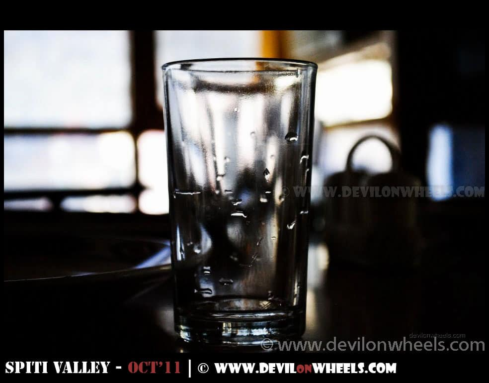 An empty glass at HPTDC Cafe Satluj, Rampur...