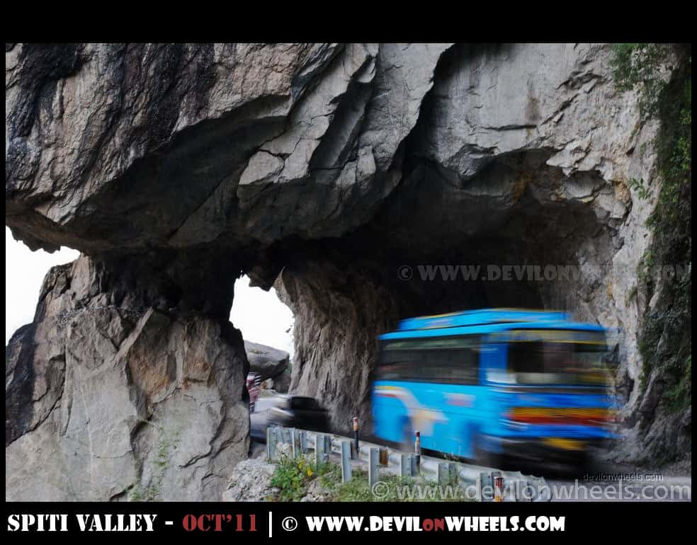 Road cut through mountains in Kinnaur Valley