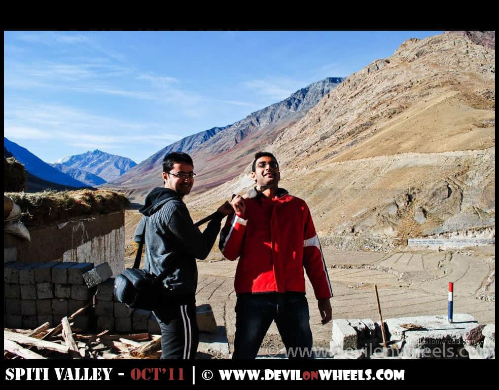 Dhruv Sharma and Saurabh Sharma at Sagnam Village in Pin Valley