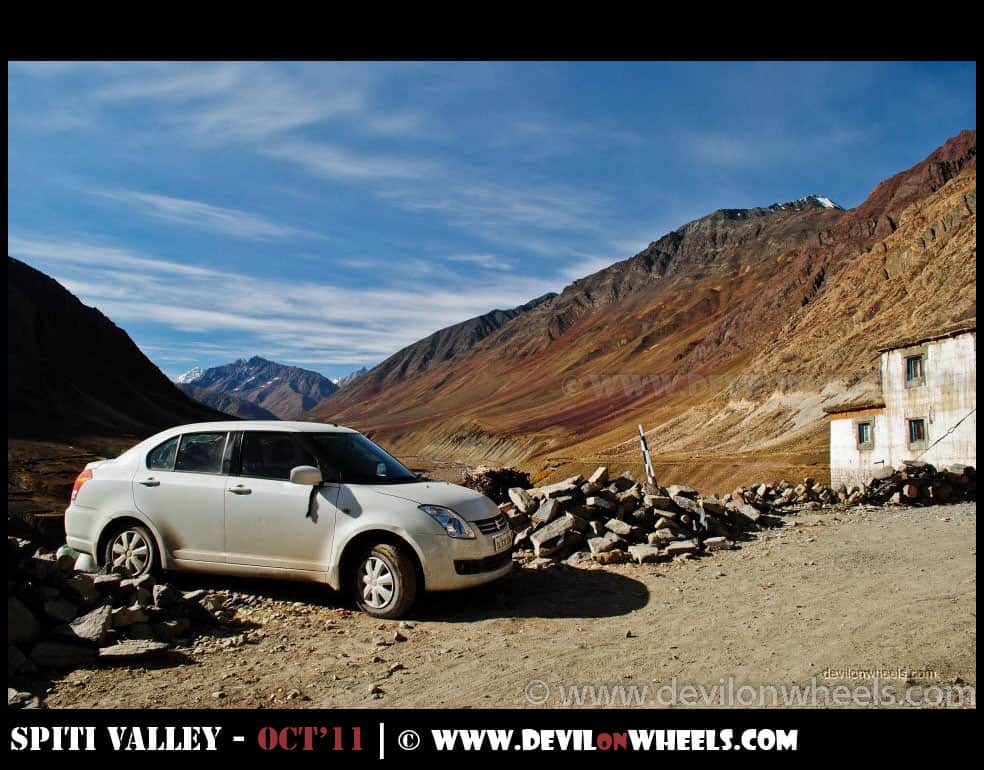 Car parked at Mud Village in Pin Valley