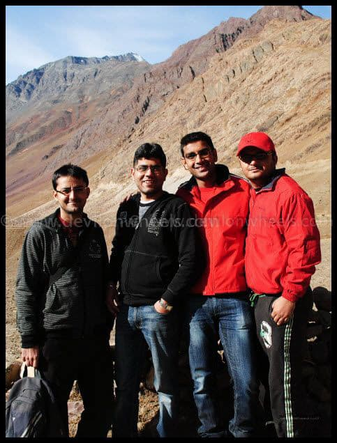 Dheeraj Sharma and his friends/cousins at Mud Village in Pin Valley