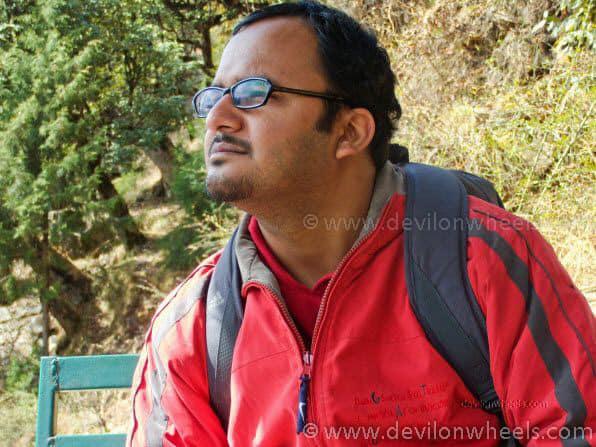 Dheeraj Sharma on the trek from Deoria Tal to Sari Village