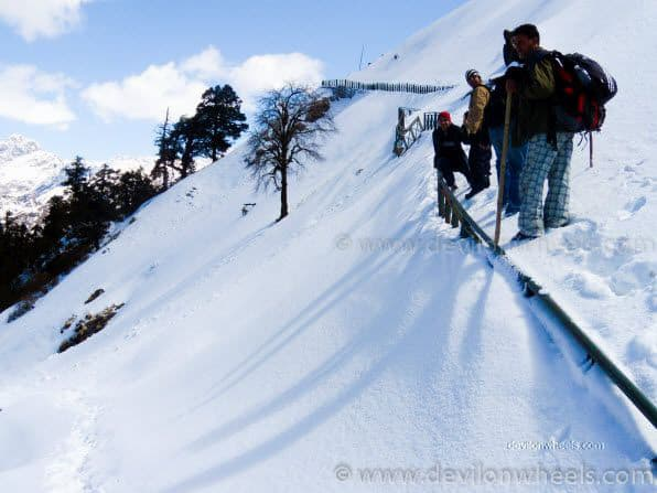 Dheeraj Sharma and his friends on Chopta - Tungnath Snow Trek