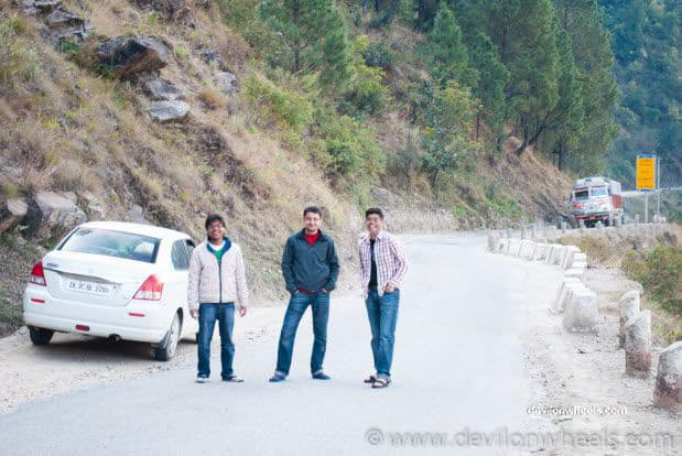 Dheeraj Sharma and his friends near Ukhimath
