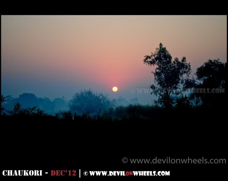 Sunrise some where near Gar Ganga on the way to Nainital