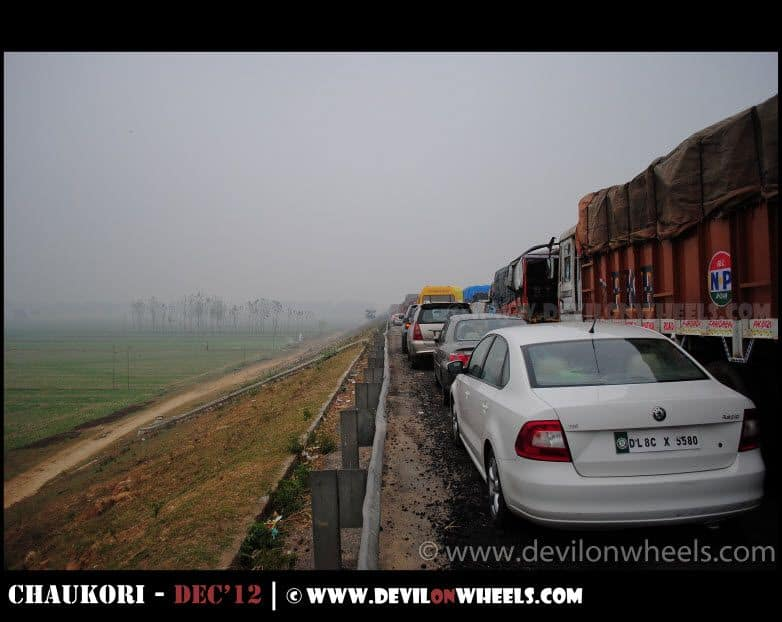 The long lasting traffic jam near Moradabad