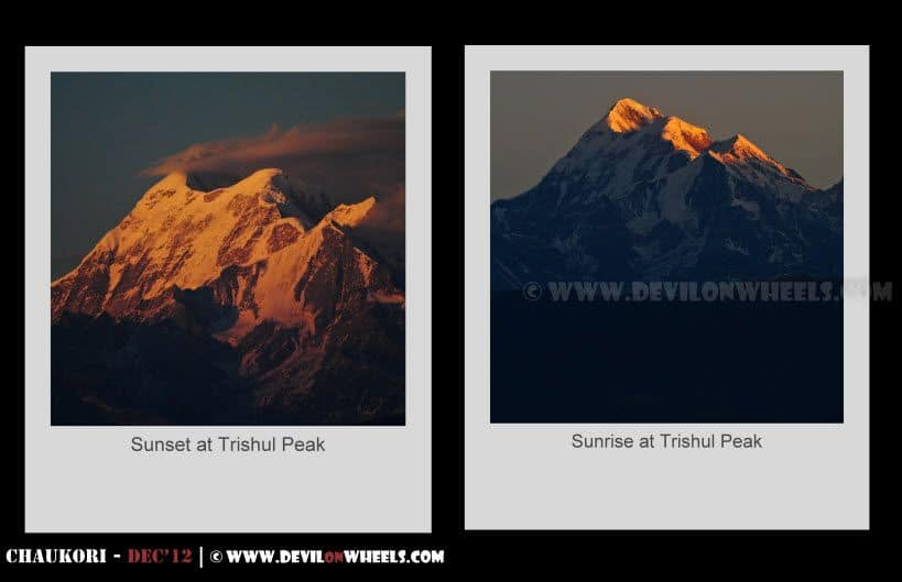 Golden Glows of Sunrise & Sunset at Trishul Peak as seen from Kausani