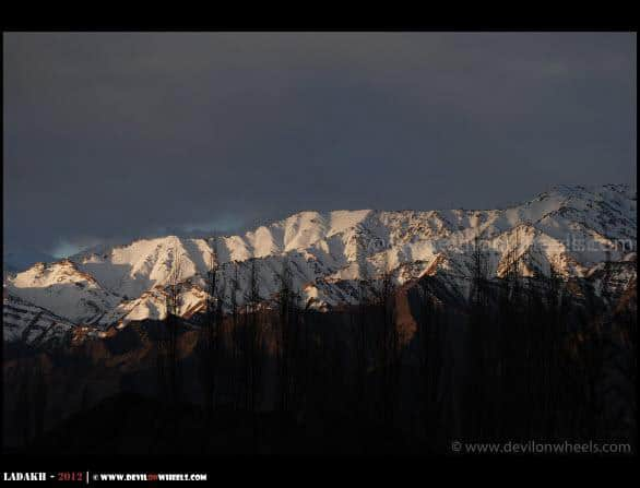 Sunlight breaks at Stok Kangri Range...