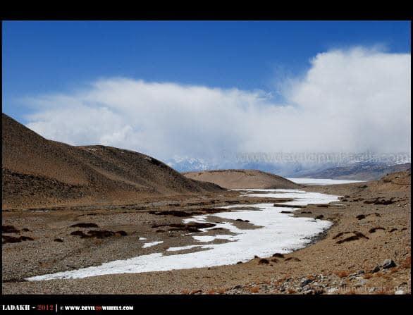 A Distant View of Frozen Tso Moriri Lake