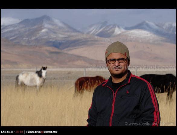 Dheeraj Sharma at Hanle Pasture Land in Ladakh