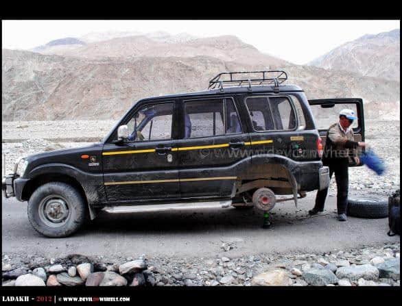 Flat Tyre on Shyok Village Route...