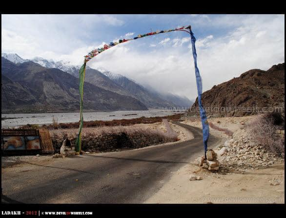 A Gate of Prayer Flags in Nubra Valley