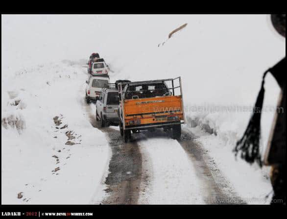 Vehicles Lining Up to Khardung La Pass in Snow