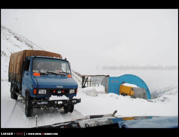 Snow on roads towards Khardung La Pass