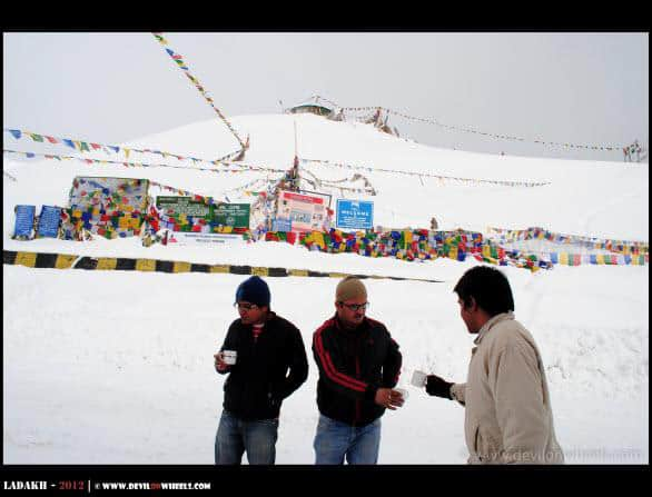 Dheeraj Sharma having a Supper in Snow at Khardung La Pass