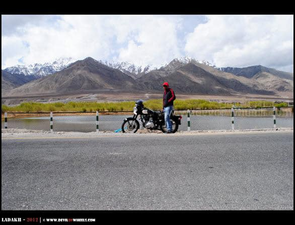 Dheeraj sharma in Leh riding RE Classic