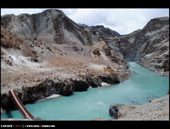 Aqua Colors of Zanskar River towards Chilling