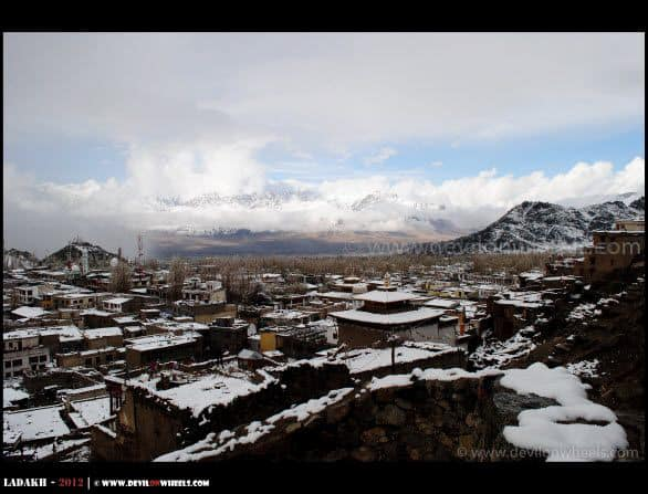 An Aerial View of Leh Snow Whiteout