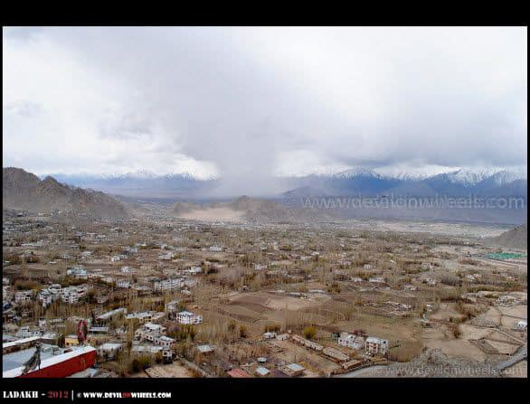 An Aerial View of Leh Town from Shanti Stupa