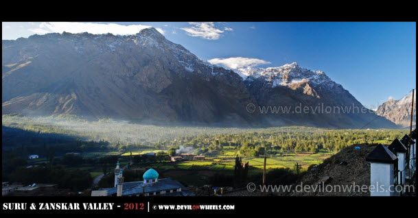 A Panoramic Early Morning View of Trespone Village in Suru Valley