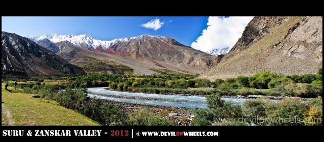 A Panoramic Landscape before Panikhar Village in Suru Valley