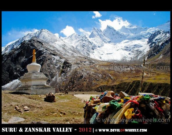 A Stupa, A Glacier and Prayer Flags... What a Treat in Suru Valley