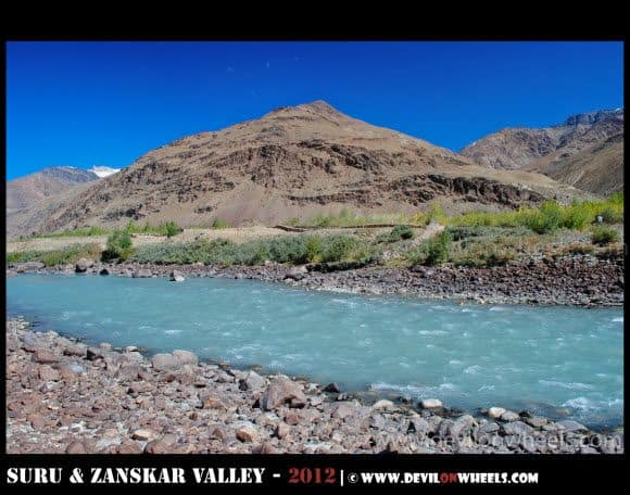 Aqua Colored Zanskar River in Zanskar Valley